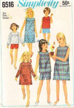 1960's Simplicity 6516 Girls One-Piece Dress Or Overblouse And Shorts Pattern, Size 10 by DawnsDesignBoutique on Etsy