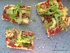 Avocado, bacon & arugula flat bread...like pizza, but better!  Made with cauliflower.