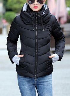a5149713d3 Long Sleeve High Neckline Zipper Pockets Down Coats (1239896) Long Black  Winter Coat
