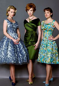 """The ladies from """"Mad Men"""" - I love both Betty's (left) and Joan's (centre) styles on the show"""