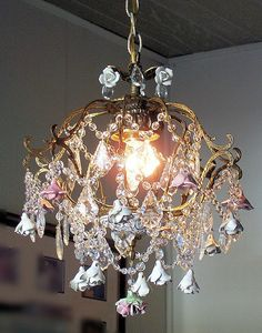 A Basket of Roses Antique Crystal Chandelier.