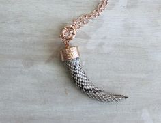 Light Brown Python Covered Teeth Necklace with Rose Gold Chain, Teeth Pendant, Python Necklace by LemkaB on Etsy