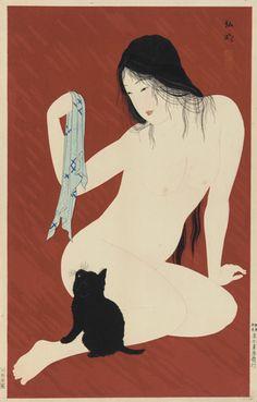 Nude with Black Cat Takahashi Hiroaki Shotei, Japanese cat art She And Her Cat, Art Chinois, Japanese Cat, Japanese Bobtail, Art Asiatique, Illustration Art, Illustrations, Japanese Painting, Japanese Prints