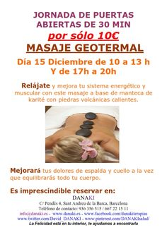 JORNADA PUERTAS ABIERTAS GEOTERMAL 15.12.14 DANAKI http://www.danaki.es/puertas-abiertas-masaje-geotermal-2/