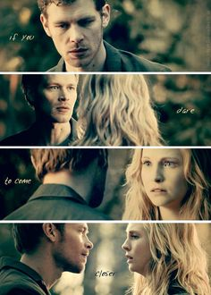 Joseph Morgan & Candice Accola as Klaus and Caroline in The Vampire Diaries