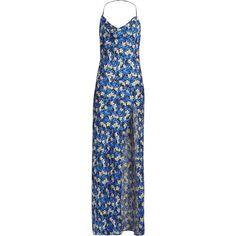 Attico Leticia floral-print maxi dress (1,525 CAD) ❤ liked on Polyvore featuring dresses, attico, blue print, flower print dress, blue dress, blue maxi dress, silk dress and floral print maxi dress