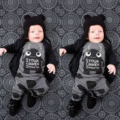 2016 baby boy clothes  cotton long sleeve little monsters t shirt+pants newborn baby girl clothing set infant 2pcs suit
