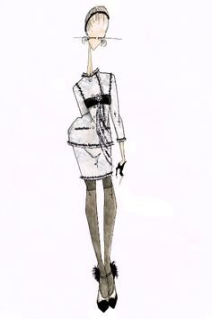 Fashion illustration - chic fashion drawing of Chanel outfit in watercolour & fine liner, drawn in the artist's signature style // J.Larkowsky