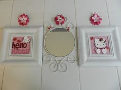 Hello Kitty Wall Decor Set of 3  2 Framed Paper by DecorandJewely, $20.00