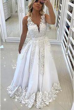 White lace V neck long prom dress, wedding dress,PD0501