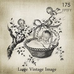 Precious Vintage Unisex Baby LARGE Digital Vintage Image by ptfy, $2.00