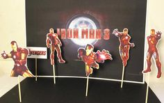 iron man cupcake topper, party solution decoration, theme cupcake, birthday cupcake toppers, iron man inspired | Happy Party
