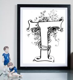 T Monogram  ...Illustration art giclée print signed by Tomek Wawer, typography T #tomasz wawer #letter T #poster