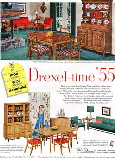 DREXEL 1955 New Todayu0027s Living MILO BAUGHMAN + Peasant Provincial   Better  Homes U0026 Gardens Oct Part 54