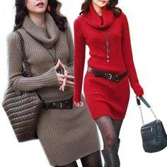 Autumn & Winter OL Lady Cowl Neck Fashion Women Long Sleeved Slim Dress Sweater Knitwear XE0997(China (Mainland))