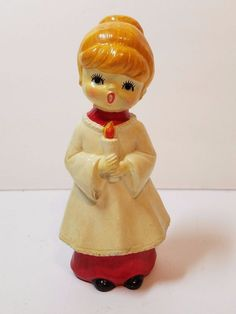 """VTG Xmas Paper Mache Holiday Girl Caroler Candle Figurine 6"""" Statue Japan 1960s"""