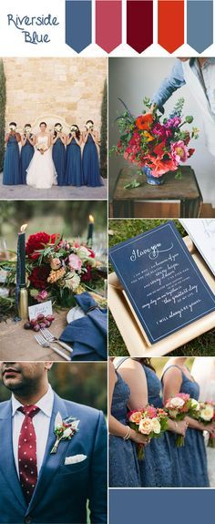 riverside blue and marsala fall wedding color inspiration