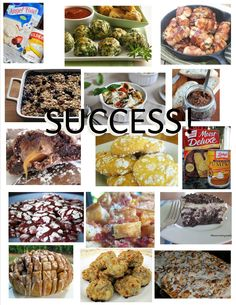 FOUR months, FIFTEEN recipes - ALL successful! From the top left: Three ingredient lemon bars, spinach bites, bacon-wrapped chicken bites, baked oatmeal, caprese egg cups, bacon jam, rollo cookies, lemon burst cookies, two ingredient pumpkin muffins, red velvet crinkles, bacon ranch pull apart bread, oreo poke cake, cinnamon pull apart bread, bousin sausage balls, cinnamon french toast bake  - Thank you pinterest.com