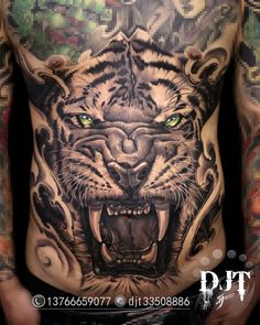 Asian Tattoos, Black Tattoos, Girl Tattoos, Tatoos, Tiger Tattoo, Lion Tattoo, Chest Piece Tattoos, Stomach Tattoos, Peonies Tattoo