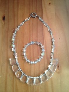Acrylic Fan Shaped Clear Beaded Unique Necklace Bracelet Set    Shimmer n Shine clear acrylic beaded necklace is handmade, inspired by crystal  Purchase from https://www.etsy.com/shop/TahoeBlueDesigns