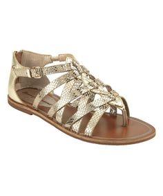 Light Gold Halina Leather Sandal