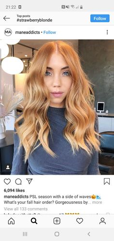 PSL season with a side of waves🎃🌊 What's your fall hair order? Gorgeousness by who broke down this look for us: 🍑This is… Ginger Hair Color, Strawberry Blonde Hair Color, Red Blonde Hair, Blonde Hair With Highlights, Hair Color And Cut, Stawberry Blonde, Copper Blonde Hair Color, Ginger Hair Dyed, Light Copper Hair