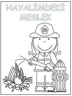 Meslekler Community Helpers Crafts, Fire Trucks, Worksheets, Coloring Pages, Kids Room, Homeschool, Snoopy, Classroom, Photo And Video