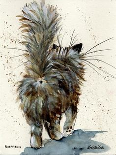 """'Fluffy Bum' Poster Print –British Artist Kim Haskins, comments, """"A familiar view for any cat owner – The original artwork was created by me in spring 2016 using watercolour and ink."""""""