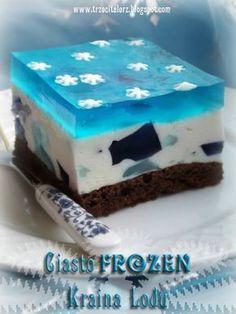 Trzeci talerz: Ciasto Frozen – Kraina Lodu - śmietankowa słodka kostka z galaretkami na spodzie brownie