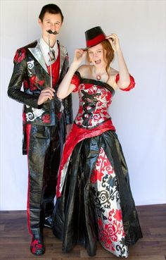 Stuck at Prom Duct Tape contest. Prom outfits completely made of duct tape! Looked through the gallery and these dresses are amazing! Duct Tape Projects, Duct Tape Crafts, Prom Outfits, Prom Dresses, Duck Tape Dress, Duct Tape Clothes, Anything But Clothes, Fancy, Unique Dresses