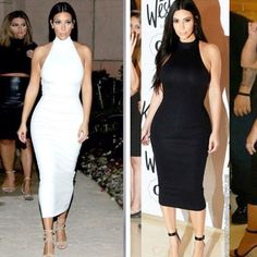 2017 black white red beige Sexy high neck sleeveless off shoulder Kim Kardashian dress women mid-calf spring sexy bodycon dress Sexy Dresses, Beautiful Dresses, Nice Dresses, Dress Outfits, Fashion Dresses, Kim Kardashian Black Dress, Estilo Kardashian, Kardashian Style, Beige