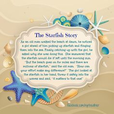 I LOVE this story!  My team has adopted The Starfish Story as our theme this year as we share the message of organic skincare and empower women with opportunity to change lives.  Discover more at www.us.nyrorganic.com/shop/heather  #organic #starfish #opportunity