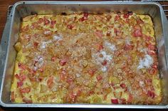 Rhubarb Custard Kuchen - My family& favorite rhubarb recipe Rhubarb Desserts, Rhubarb Cake, Rhubarb Recipes, Rhubarb Squares, Cooking Rhubarb, Rhubarb Rhubarb, Pie Dessert, Dessert Recipes, Fruit Recipes
