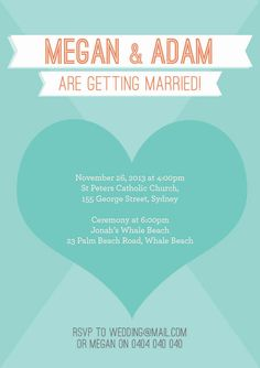 "Modern Teal Wedding ""Print yourself"" invitation $45"