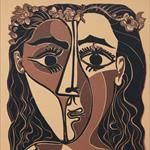 """Pablo Picasso, apre oggi in Italia la più grande retrospettiva di incisioni realizzate dal Maestro spagnoloPiccola testa di donna coronata di fiori, 20.2.1962 linografia a colori, """"Epreuve d'essai"""", 3° e ultimo stato, 630x444 mm Kunstmuseum Pablo Picasso Münster"""