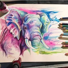 elephant painting by katy lipscomb http://webneel.com/oil-painting | Design Inspiration http://webneel.com | Follow us www.pinterest.com/webneel