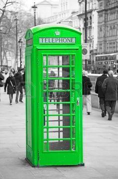 Splash of color - green phone booth Splash Photography, Color Photography, Black And White Photography, Color Splash, Color Pop, Green Colors, Colours, Telephone Booth, Vintage Phones