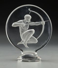 . Lalique Clear and Frosted Glass Archer Mascot  Circa 1926. Wheel carved R. LALIQUE FRANCE, engraved No. 1126. M p. 498, No. 1126. Ht. 5 in.