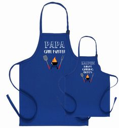 Personalised Gifts Ideas : Dad and son matching aprons, Grandpa and grandson BBQ apron, Father's day gi… Funny Aprons For Men, Childrens Aprons, Bbq Apron, Personalized Aprons, Grill Master, Fathers Day Crafts, Kids Apron, Fabric Gifts, Gifts For Dad