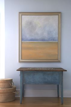blue table with deep apron
