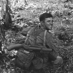 Australian soldier with an M79 grenade launcher slung over his back.