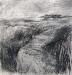 @janine_baldwin #DrawingAugust Picking up textures through wafer thin newsprint - windswept #landscape