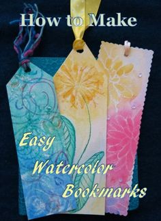 Beautiful bookmarks are easy to make using these simple watercolor painting techniques! I used some of these techniques when I taught pre-school but they are fun for older children as well as adults.
