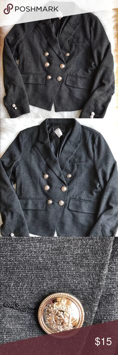 "Timing Gray Blazer Jacket Size Large NWT Timing Brand Women's Charcoal Gray Blazer Jacket With Crest Buttons.  Size Large.  New With Tags.  Armpit To Armpit 38"" Waist 36"" Shoulder To Hem 23"" longest point Sleeve Length 25""  Please let me know if you have any additional questions and I will get back to you ASAP.  Follow my store new items are added daily :) Timing Jackets & Coats Blazers"