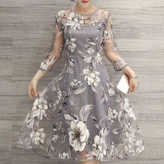 $19.26 Charming Round Neck 3/4 Sleeve Floral Print See-Through Dress For Women - Light Gray