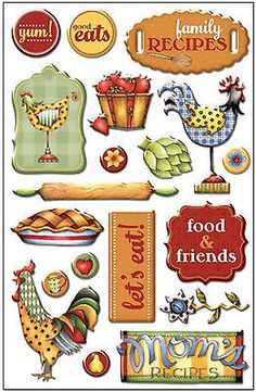 RENAE'S KITCHEN 3-D Epoxy Sticker Sheet (19) Pcs scrapbooking ROOSTER Cooking
