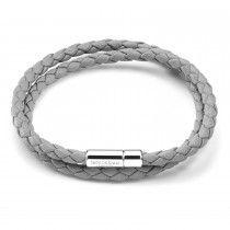 Tateossian Mens Double Wrap Slim Scoubidou Bracelet in Grey Leather with Silver Clasp