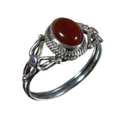 925 Solid Sterling Silver Ring Natural Carnelian Gemstone US Size 9.25 JSR-1375 #Handmade #Ring