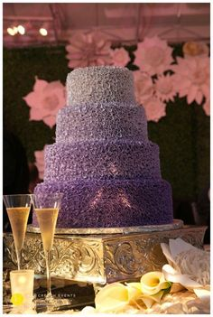 Lush gradient purple wedding cake www.katcreechevents.com