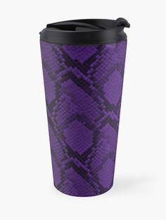 """Deep Purple and Black Python Snake Skin Reptile Scales"" Travel Mug by podartist Purple Snake, Deep Purple, Purple And Black, Reptile Scales, Python Snake, Mug Designs, Reptiles, Snake Skin, Travel Mug"